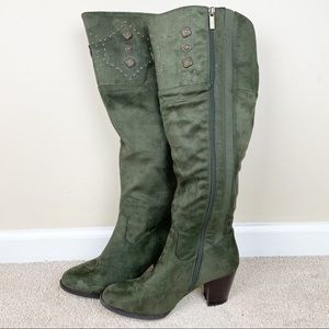 Cloudwalkers | Olive Green Tall High Heeled Boots